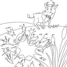 Coloriage gratuit La Grenouille qui voulait se faire aussi grosse que le Boeuf - Coloriage - Coloriage de CONTES CELEBRES - Les fables de La Fontaine à colorier