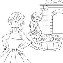 Coloriage Cendrillon et sa belle-mère - Coloriage - Coloriage de CONTES CELEBRES - Les contes de Perrault à colorier