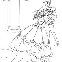 Coloriage Peau d'Ane avec son prince - Coloriage - Coloriage de CONTES CELEBRES - Les contes de Perrault à colorier