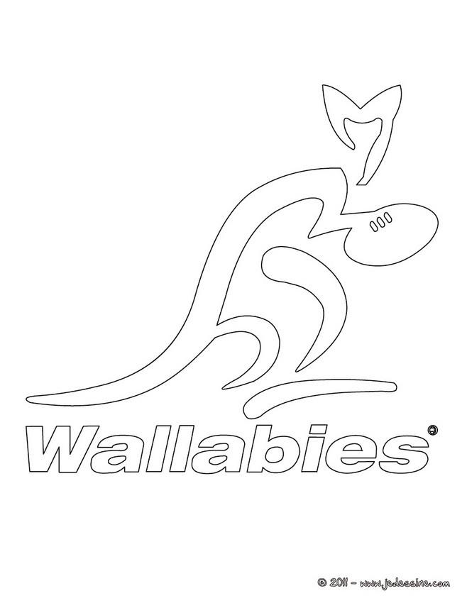 Coloriages blason des wallabies l 39 quipe de rugby d 39 australie - Coloriage de rugby ...