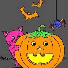 Casse-tête : Le chat et la citrouille d'Halloween