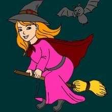 La petite sorcière sur un balai - Jeux - Casse-têtes chinois en ligne - Casse-têtes d'Halloween