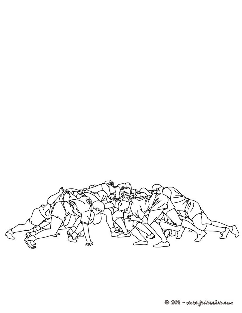 Coloriage d'une mêlée au Rugby