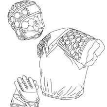 Coloriage des gants, de la protection et du casque de rugby