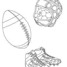 Coloriage du ballon, des chaussures et du casque de rugby
