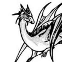 Dessin d'enfant : Le dragon au repos