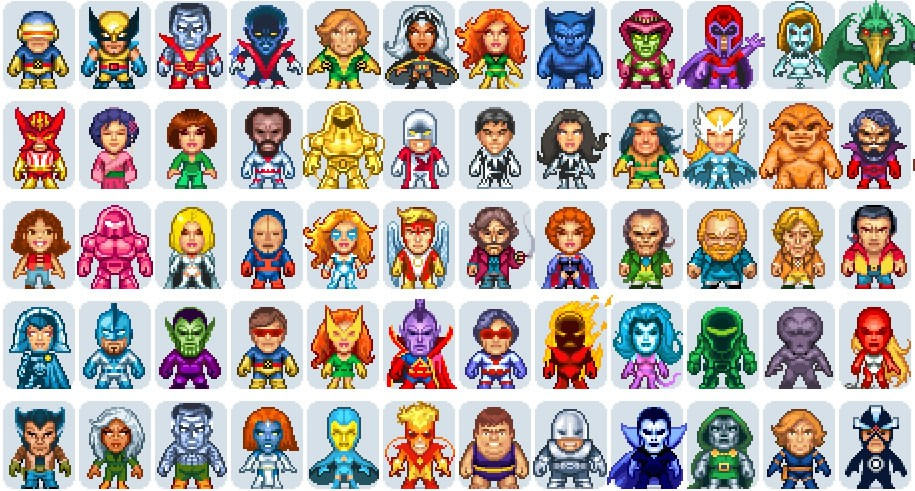 Les X-men en Pixel Art