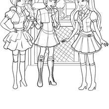 Coloriage gratuit de Blair et ses amies - Coloriage - Coloriage BARBIE - Coloriage BARBIE APPRENTIE PRINCESSE