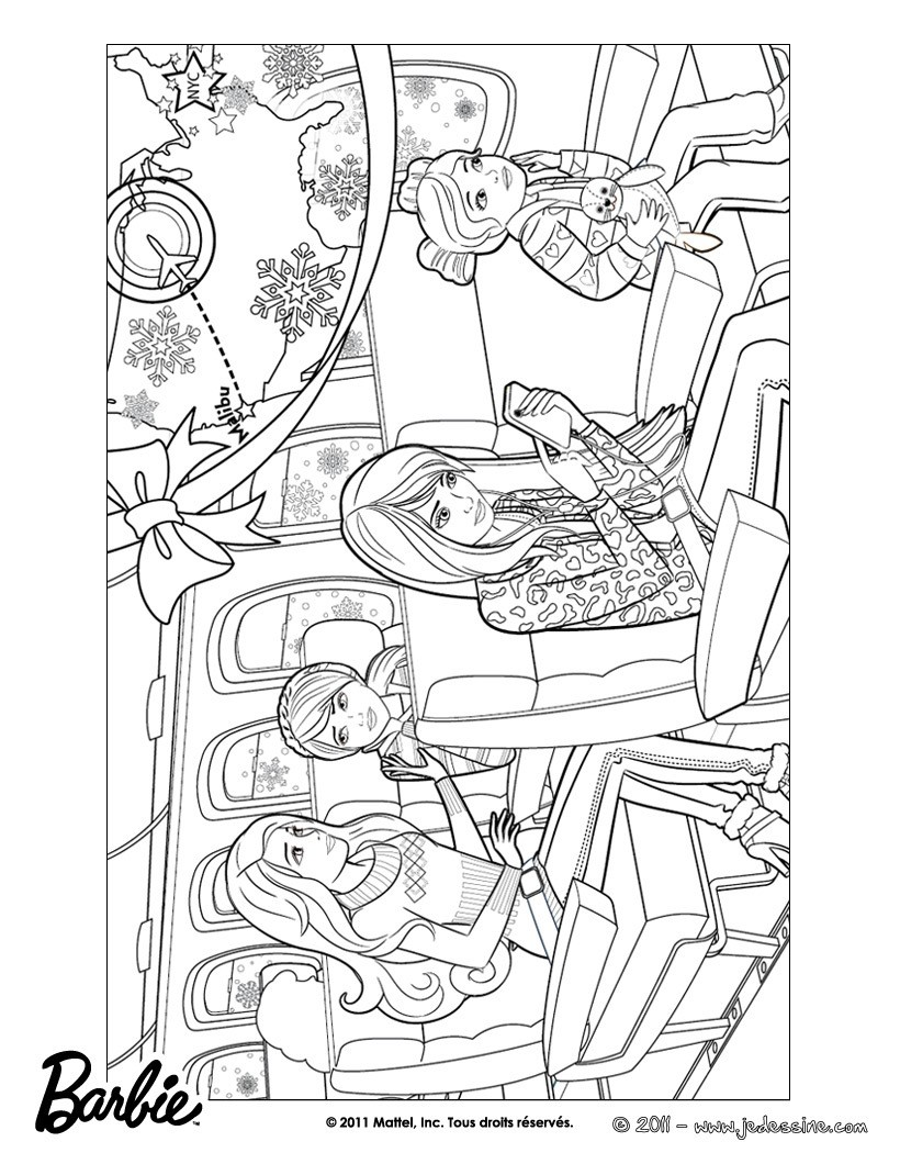 Coloriage de Barbie dans l'avion