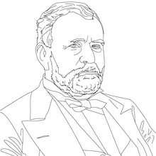 Coloriage du Président et Général ULYSSES GRANT - Coloriage - Coloriage HISTOIRE ET PAYS - Coloriage ETATS-UNIS - Coloriage d'américains célèbres
