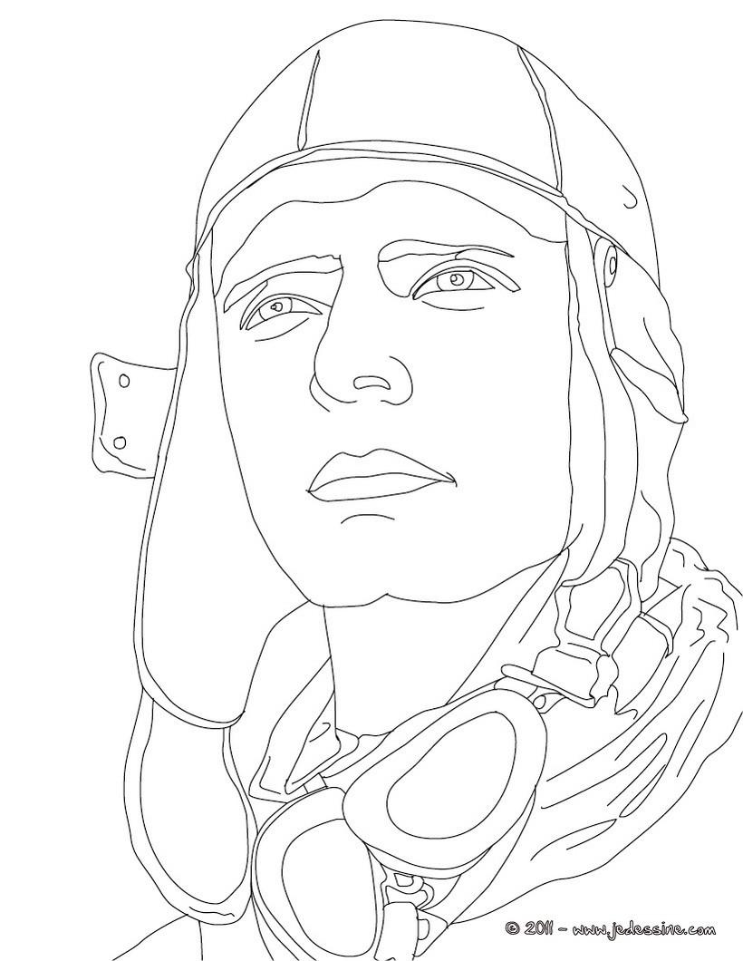 Coloriage de l'aviateur CHARLES LINDBERGH