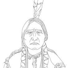 Coloriage de SITTING BULL - Coloriage - Coloriage HISTOIRE ET PAYS - Coloriage ETATS-UNIS - Coloriage d'amricains clbres
