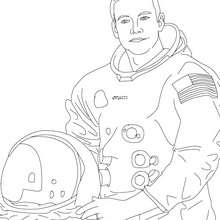 Coloriage de l'astronaute NEIL ARMSTRONG - Coloriage - Coloriage HISTOIRE ET PAYS - Coloriage ETATS-UNIS - Coloriage d'américains célèbres