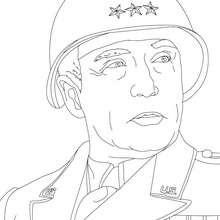 Coloriage du Général GEORGE PATTON - Coloriage - Coloriage HISTOIRE ET PAYS - Coloriage ETATS-UNIS - Coloriage d'américains célèbres