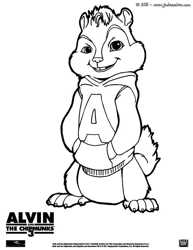 dessin a imprimer alvin et les chipmunks 3