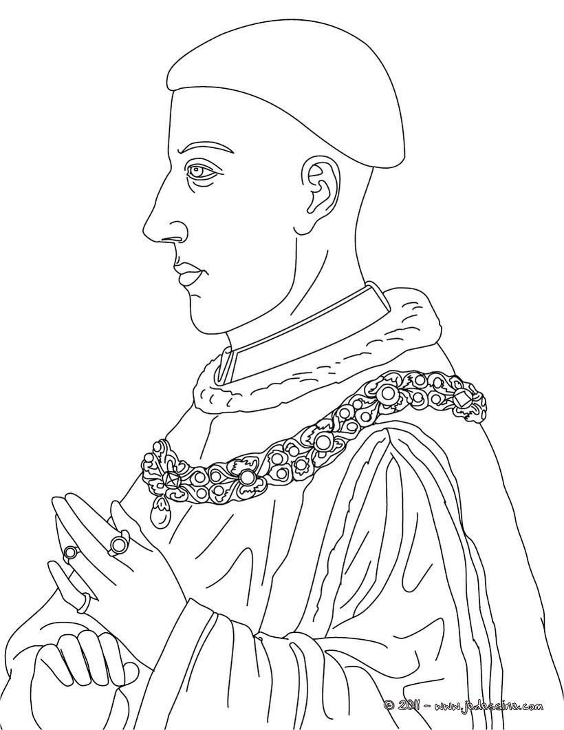 Coloriages coloriage du roi henri v - Caricature gratuite en ligne ...