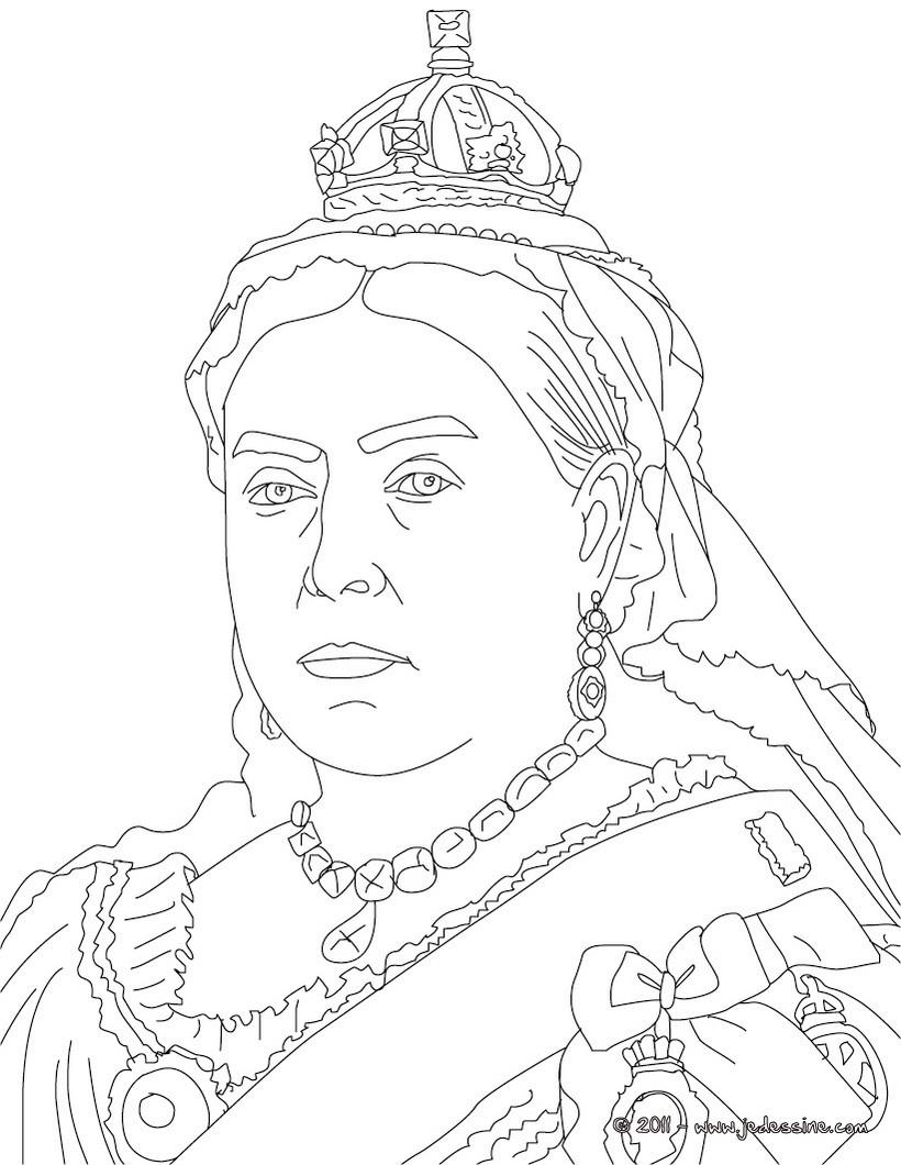 Line Art Ks2 : Coloriages coloriage de la reine victoria fr hellokids