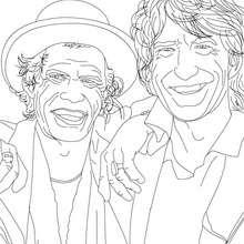 Coloriage de MICK JAGGER ET KEITH RICHARD des Rolling Stones - Coloriage - Coloriage HISTOIRE ET PAYS - Coloriage ROYAUME UNI - Coloriages de Britanniques célèbres