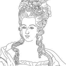 Coloriage de la reine MARIE ANTOINETTE - Coloriage - Coloriage HISTOIRE ET PAYS - Coloriage FRANCE - Coloriage ROI DE FRANCE