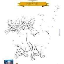 Jeu de points à relier : Les chats siamois dans la belle et le clochard