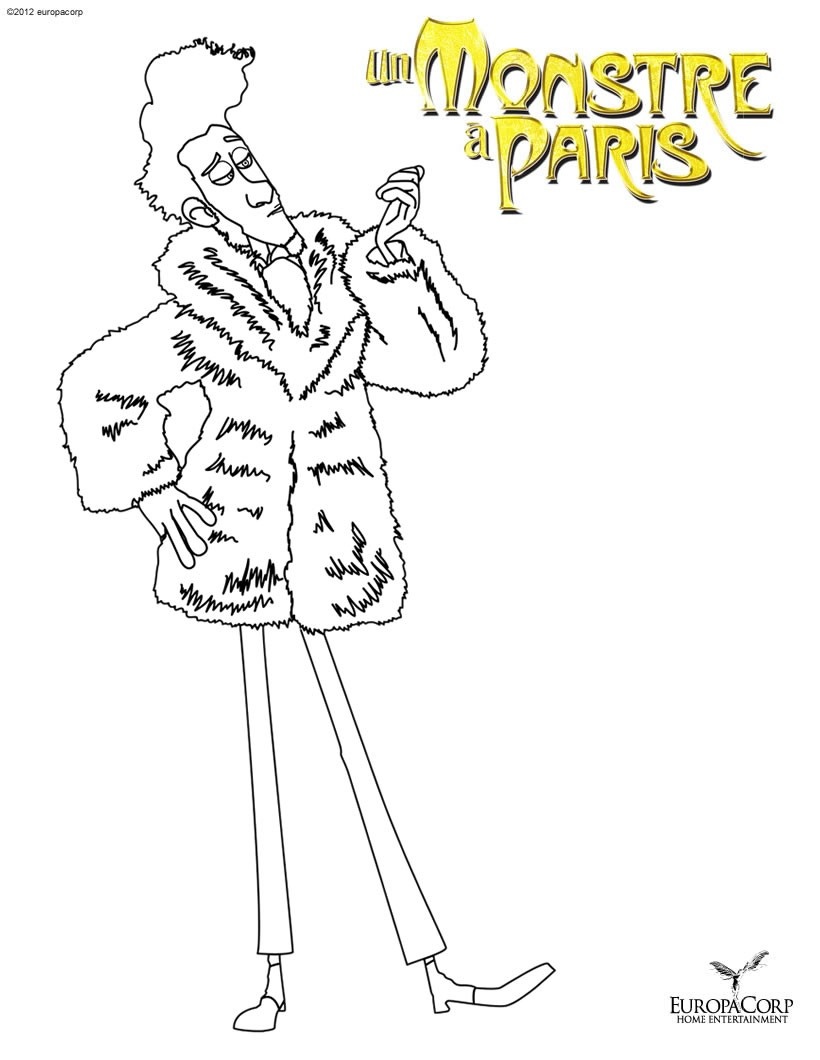 A Monster in Paris coloring pages for kids