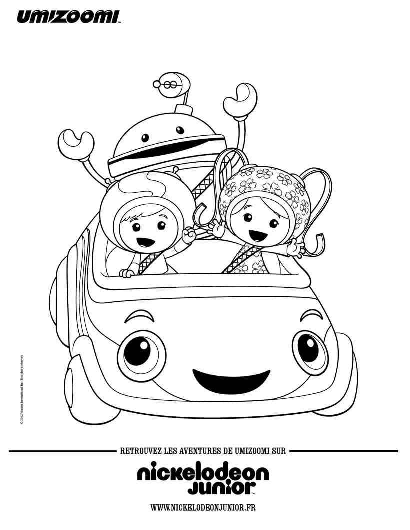 Coloriage : Les Umizoomi dans la Umi voiture