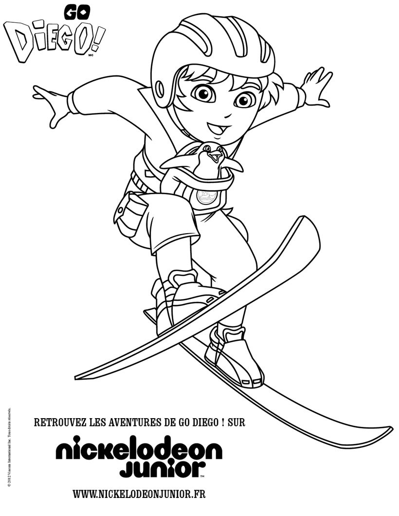 Coloriages coloriage diego au ski - Coloriage ski ...