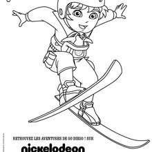 Coloriage Diego au ski