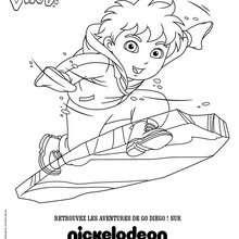 Coloriage Diego en surf de glace