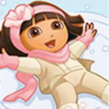 Coloriage DORA en hiver