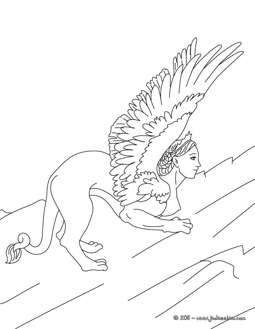 Personnage mythologique : Coloriage SPHINX
