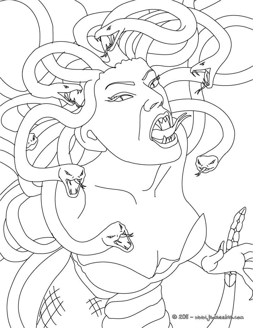 Coloriages coloriage medusa - Dessin mythologie ...