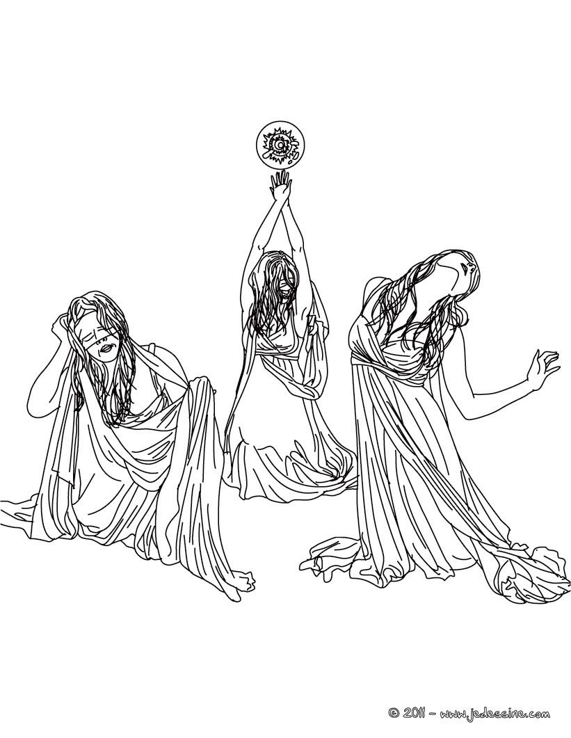 Personnage mythologique : Coloriage LES 3 GREES
