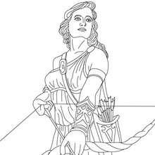 Personnage mythologique : Coloriage ARTEMIS, déesse de la chasse