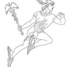 Coloriage DIEU HERMES, messager divin - Coloriage - Coloriage HISTOIRE ET PAYS - Coloriage MYTHOLOGIE GRECQUE
