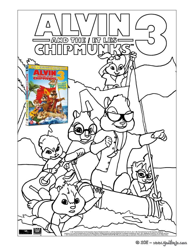 Coloriage Alvin Et Les Chipmunks 3 Il Y A De Nombreux Des