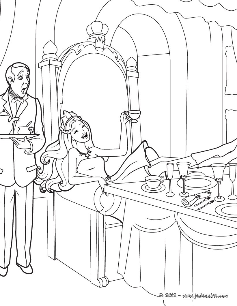 Coloriages keira au chateau - Chateau de barbie ...