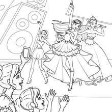 Coloriage des deux amies sur scène - Coloriage - Coloriage BARBIE - Coloriage BARBIE - LA PRINCESSE et LA POPSTAR
