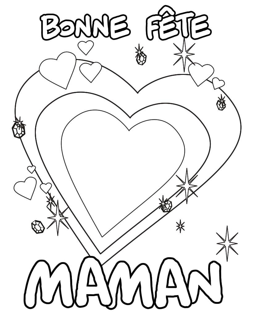 Coloriage Bonne Fete Maman A Decouper