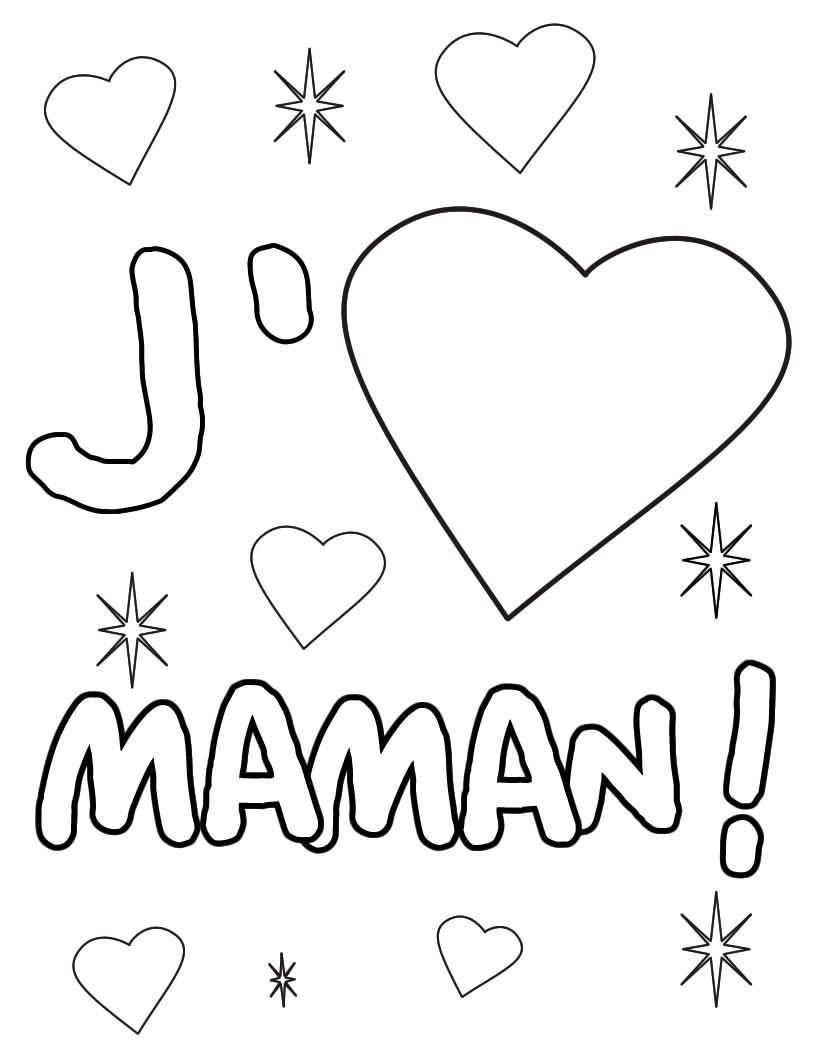 Coloriage J aime Maman