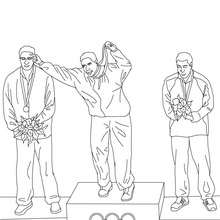 Coloriage CEREMONIE DES MEDAILLES aux Jeux Olympiques  colorier - Coloriage - Coloriage SPORT - Coloriages des JEUX OLYMPIQUES A COLORIER - Coloriages des SYMBOLES OLYMPIQUES pour enfants
