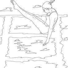 Coloriage d'un PLONGEON ARCOBATIQUE - Coloriage - Coloriage SPORT - Coloriage NATATION