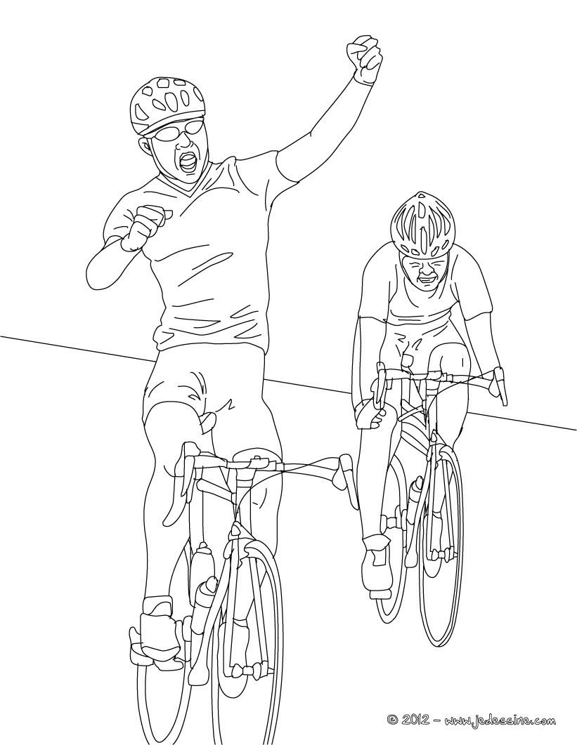 Coloriages coloriage de cycliste sur route - Cycliste dessin ...
