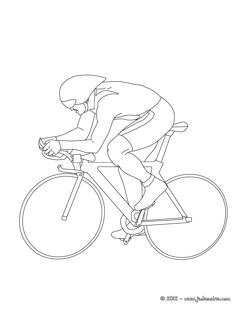 Coloriages coloriage de cyclisme sur piste - Cycliste dessin ...