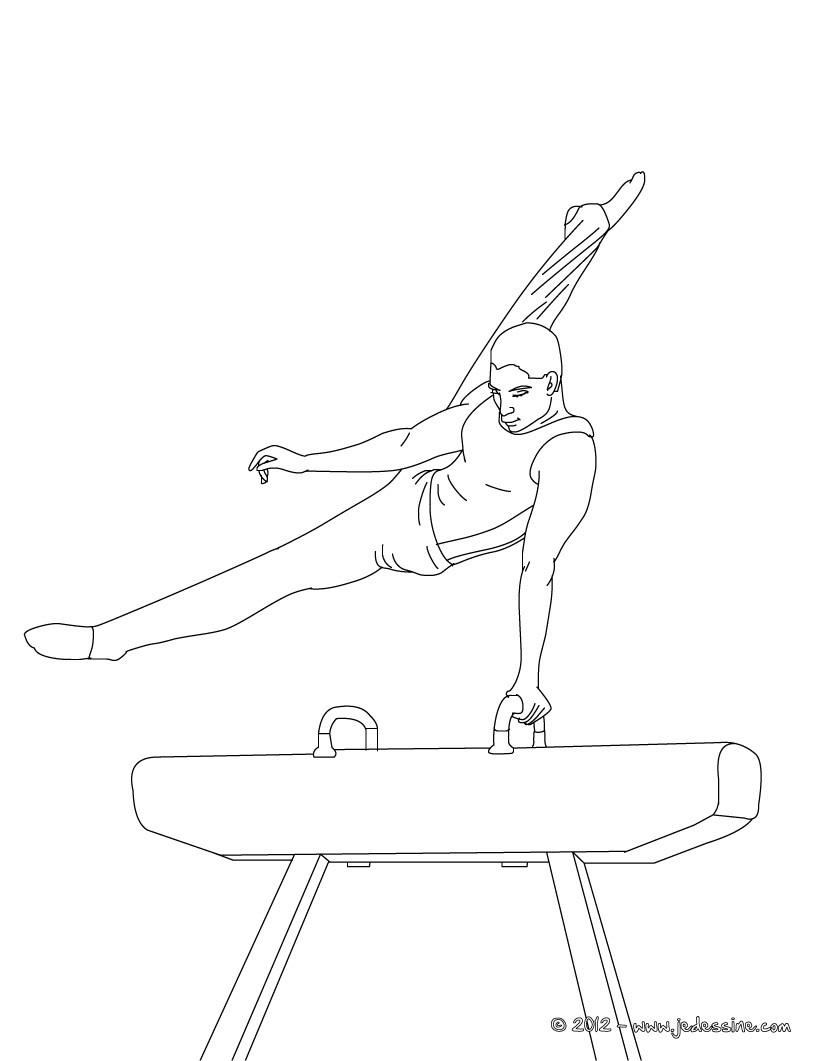 Coloriage BARRES ASYMETRIQUES en gymnastique artistique Coloriage CHEVAL D AR‡ON épreuve de gymnastique artistique  colorier en ligne