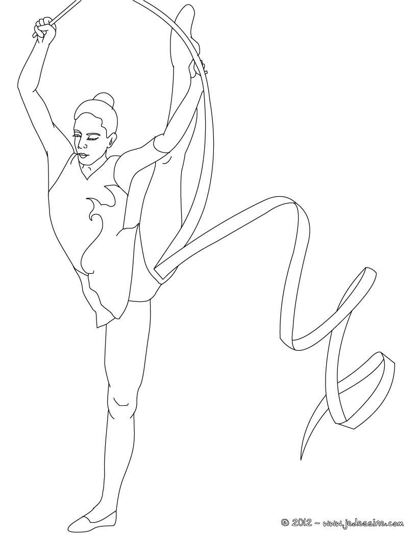 Coloriages coloriage de gymnaste avec le ruban - Dessin gymnaste ...