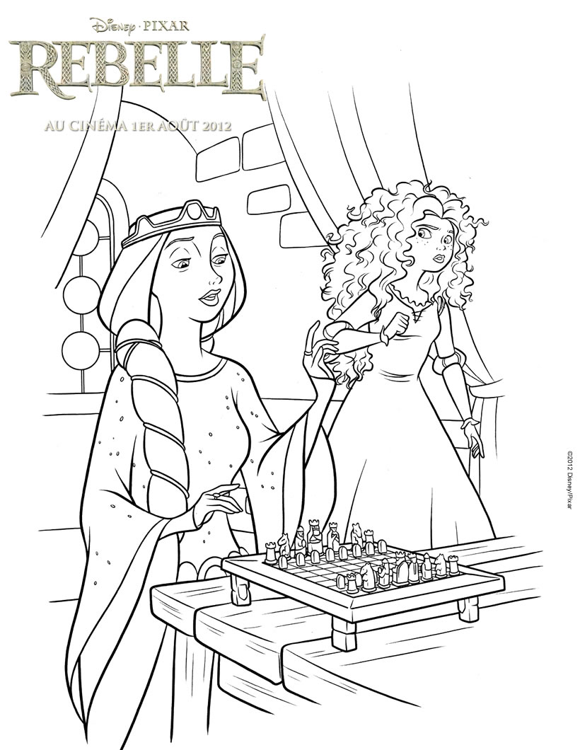 Coloriage : Rebelle - Merida et la Reine Elinor