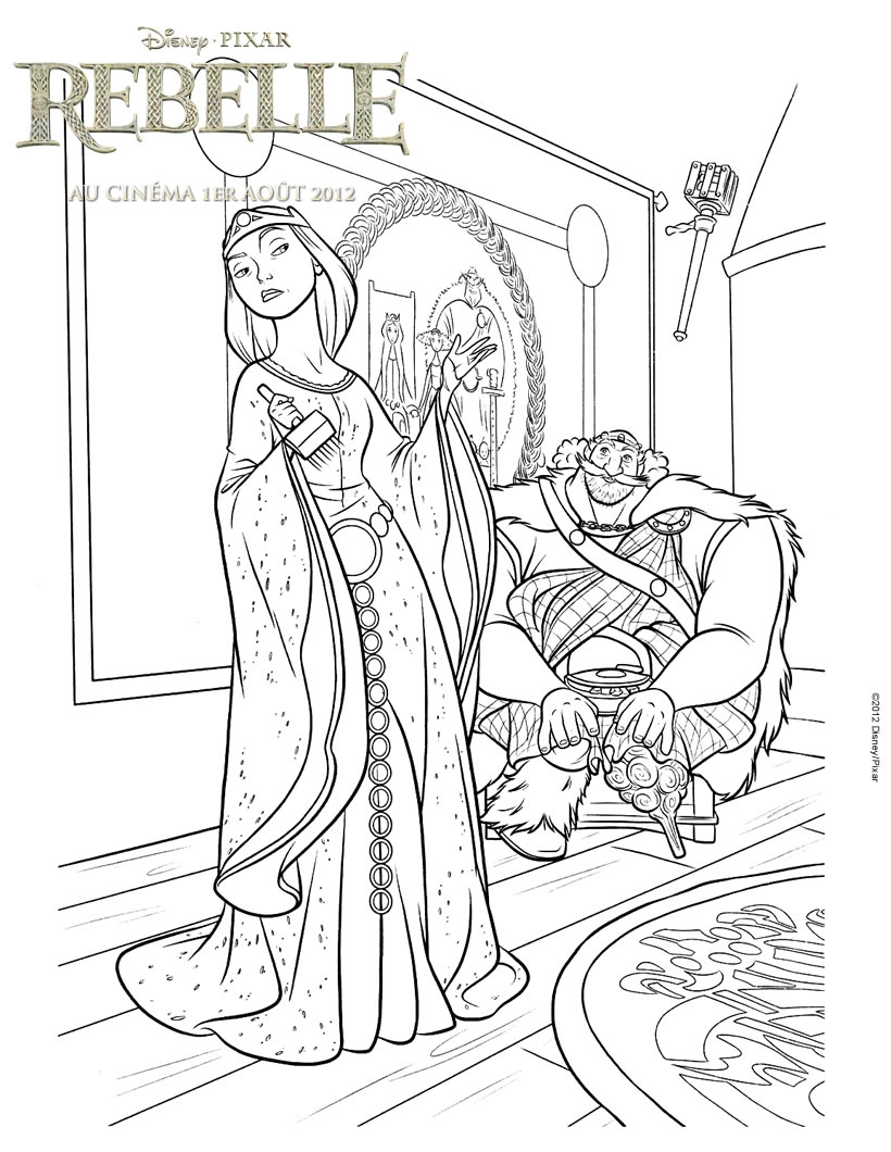 coloriages rebelle le roi fergus et la reine elinor. Black Bedroom Furniture Sets. Home Design Ideas