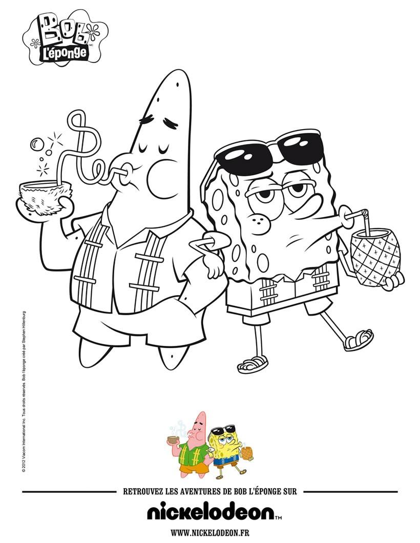 coloriages coloriage bob l u0027eponge et patrick à la plage fr