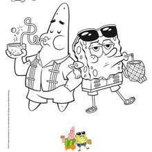 Coloriage Bob l'éponge : Coloriage BOB L'EPONGE ET PATRICK à la plage